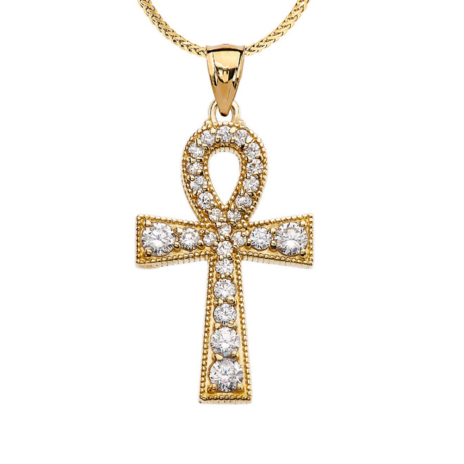 Yellow Gold Ankh Cross Cubic Zirconia Pendant Necklace