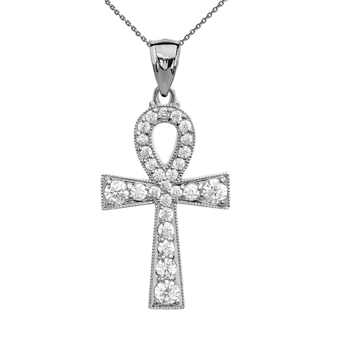 Ankh Cross Cubic Zirconia White Gold Pendant Necklace
