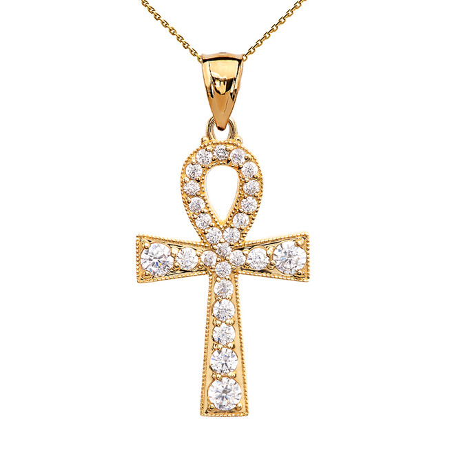 Ankh Cross Cubic Zirconia Yellow Gold Pendant Necklace