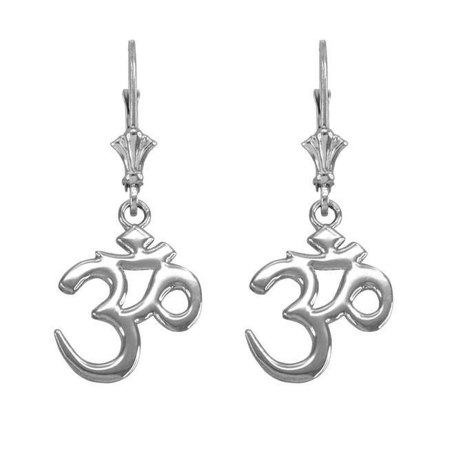 14K White Gold Om (Aum) Leverback Earrings