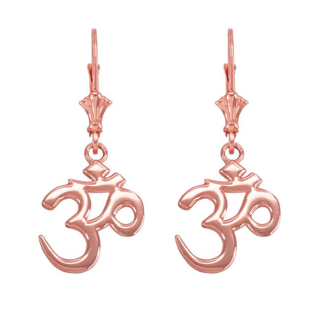 14K Rose Gold Om (Aum) Leverback Earrings