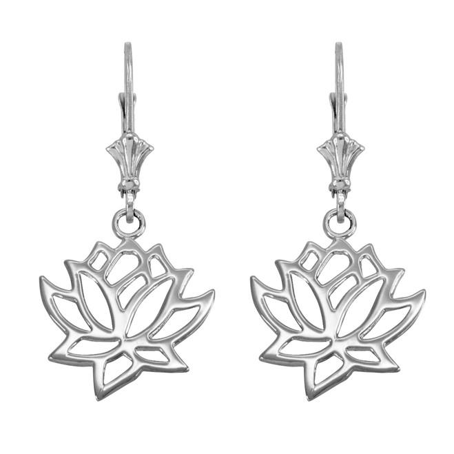 Sterling Silver Lotus Leverback Earrings