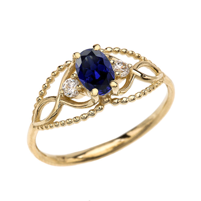 Elegant Beaded Solitaire Ring With Sapphire Centerstone and White Topaz in Yellow Gold
