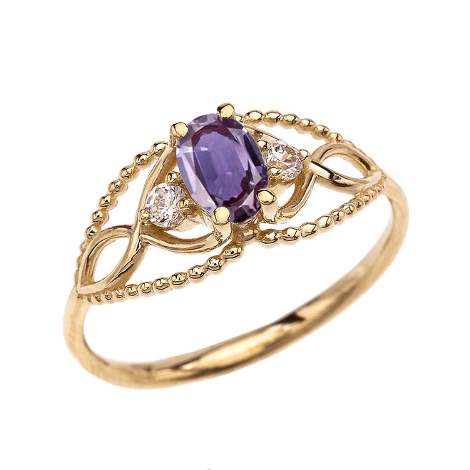 Elegant Beaded Solitaire Ring With June Birthstone Purple CZ Centerstone and White Topaz in Yellow Gold
