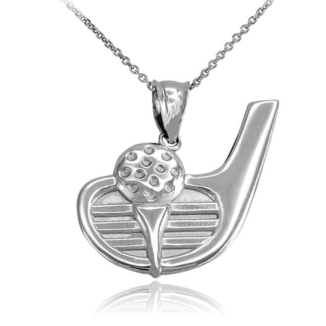 White Gold Golf Club Ball Pendant Necklace