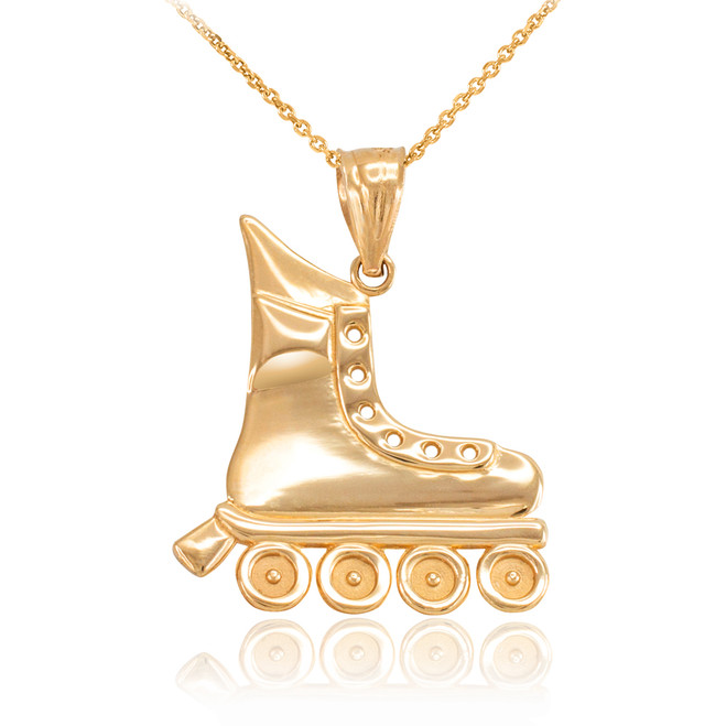 Yellow Gold Roller Skates Pendant Necklace