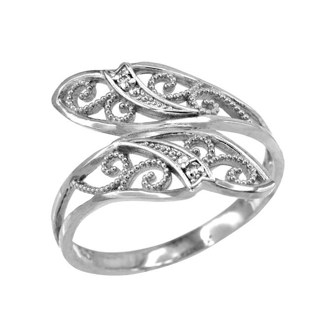 White Gold Filigree Diamond Cut Leaf Ring
