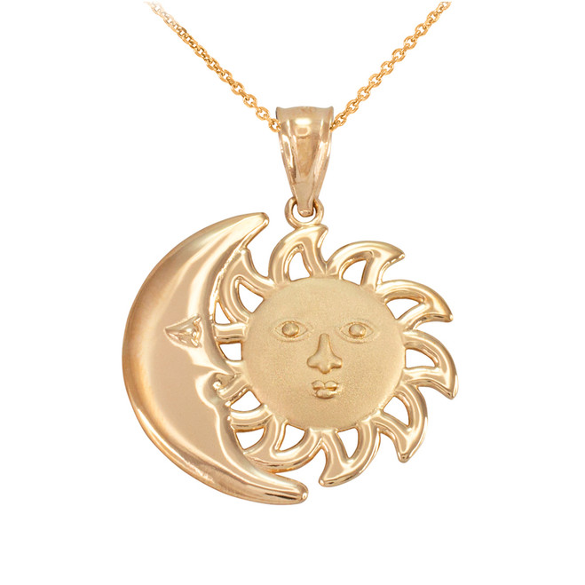 Yellow Gold Moon and Sun Pendant Necklace