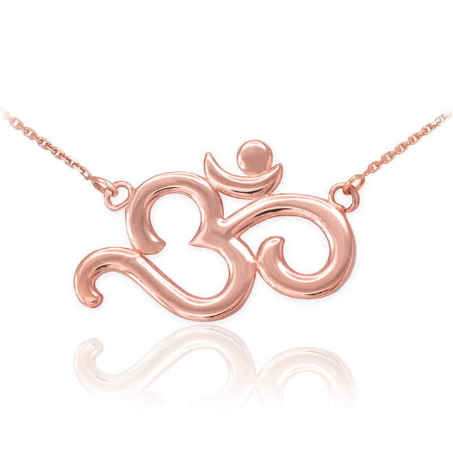 14K Polished Rose Gold Om Necklace
