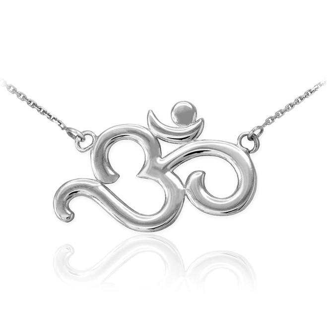 Sterling Silver Polished Om Necklace