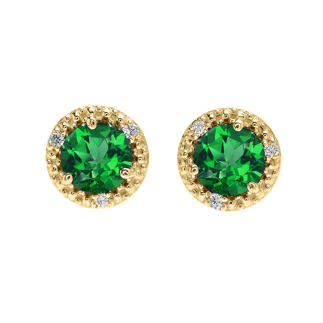 Halo Stud Earrings in Yellow Gold with Solitaire Lab Created Emerald and Diamonds