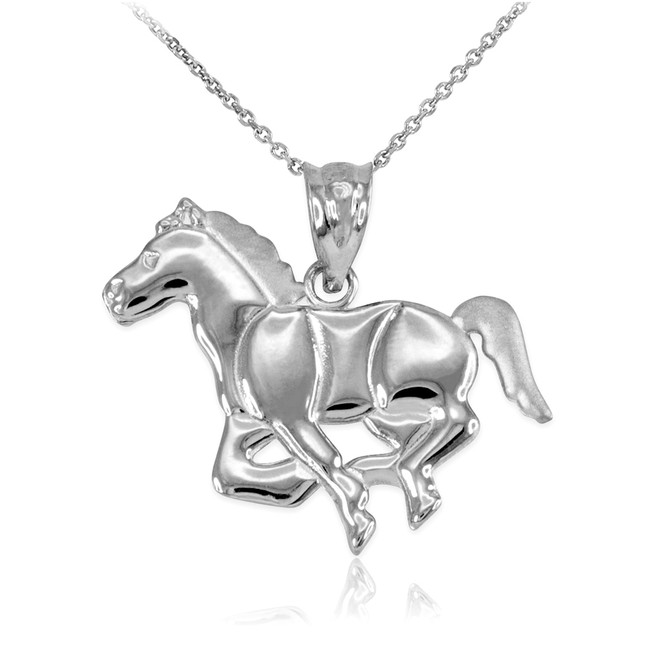 White Gold Running Horse Pendant Necklace