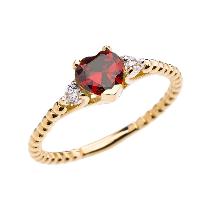 Garnet Solitaire Heart And White Topaz Yellow Gold Beaded Band Promise Ring
