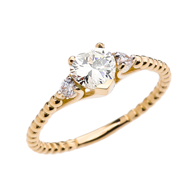 April Birthstone White CZ Solitaire Heart And White Topaz Yellow Gold Beaded Band Promise Ring