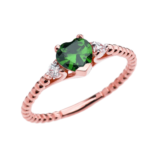 May Birthstone (LCE) Emerald Solitaire Heart And White Topaz Rose Gold Beaded Band Promise Ring