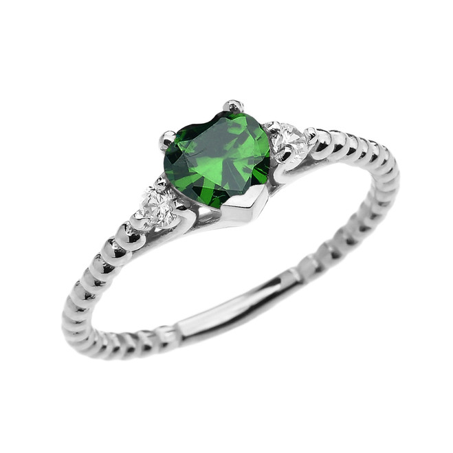 May Birthstone (LCE) Emerald Solitaire Heart And White Topaz White Gold Beaded Band Promise Ring