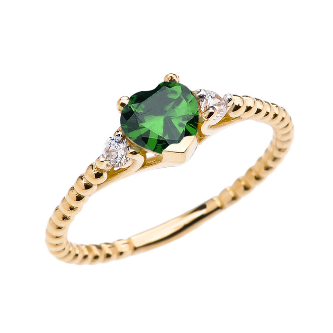 May Birthstone (LCE) Emerald Solitaire Heart And White Topaz Yellow Gold Beaded Band Promise Ring
