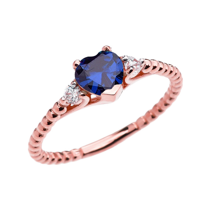 September Birthstone Blue CZ Solitaire Heart And White Topaz Rose Gold Beaded Band Promise Ring