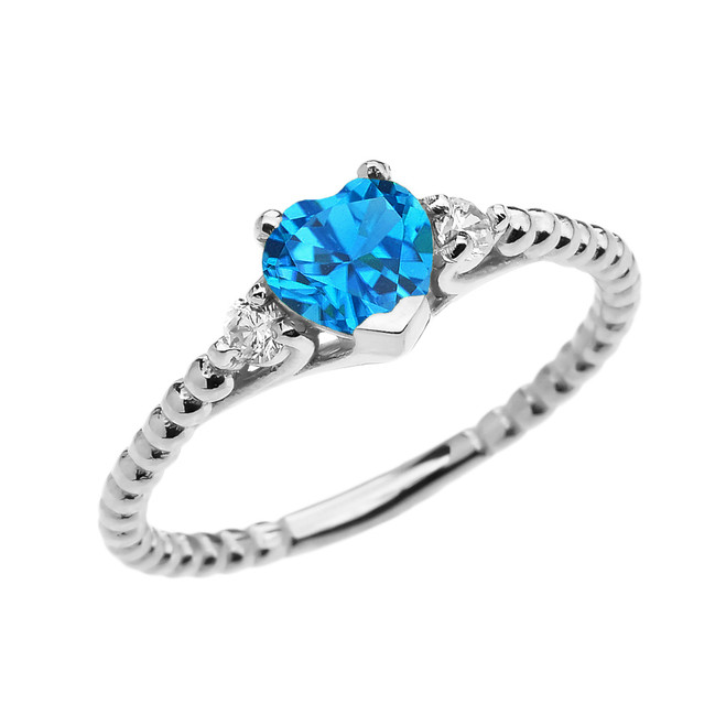Blue Topaz Solitaire Heart And White Topaz White Gold Beaded Band Promise Ring
