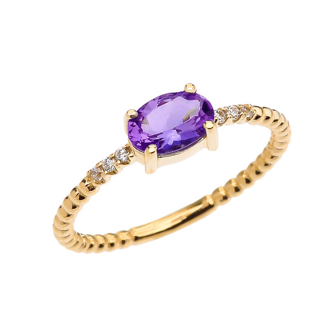 Diamond Beaded Band Ring With Amethyst Centerstone in Yellow Gold