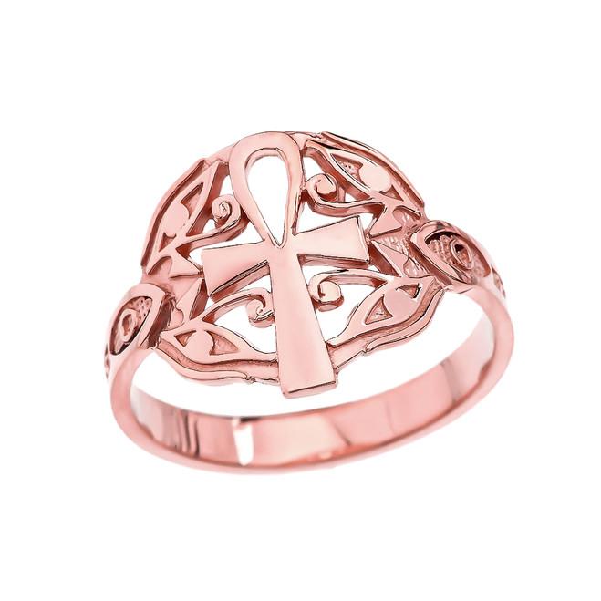 Egyptian Ankh Cross with Eye of Horus Rose Gold Ring