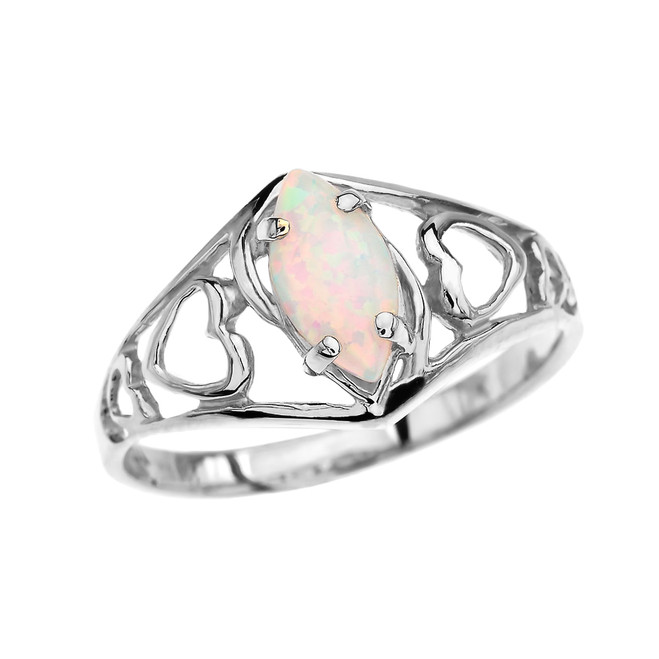 White Gold Heart Ring With Marquise Opal Centerstone