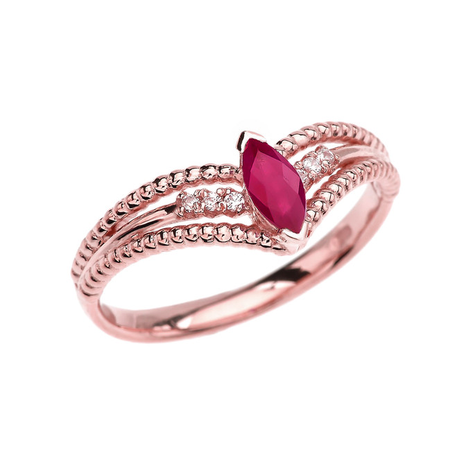 Rose Gold Ruby and Diamond Modern Beaded Engagement Ring