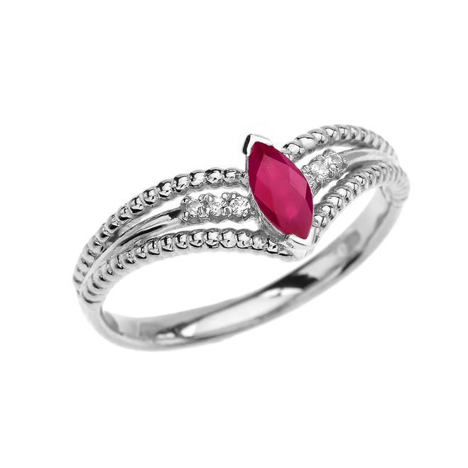 White Gold Ruby and Diamond Modern Beaded Engagement Ring