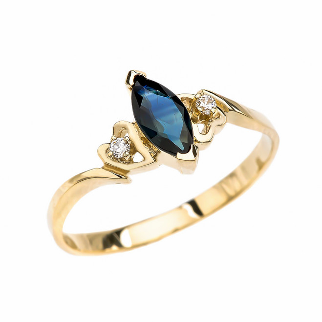 Yellow Gold Solitaire Marquise Sapphire And Diamonds Engagement/Proposal Ring