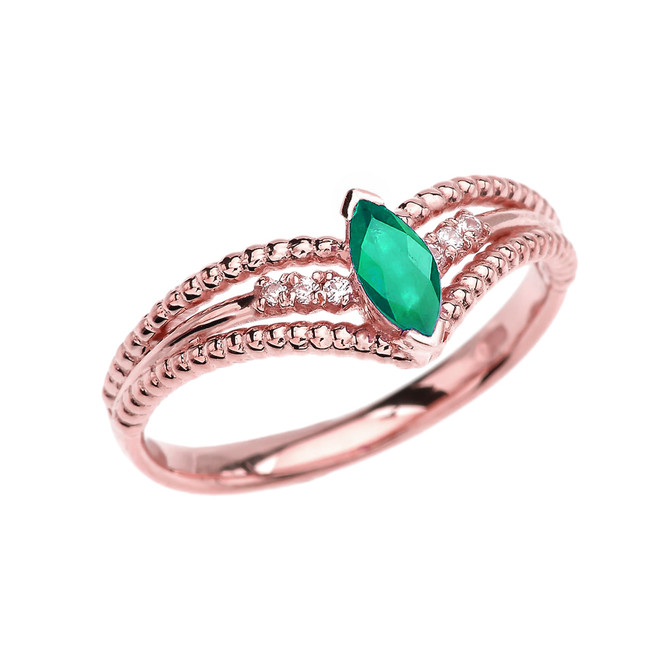 Rose Gold Diamond And (LCE) Emerald Modern Beaded Engagement Ring