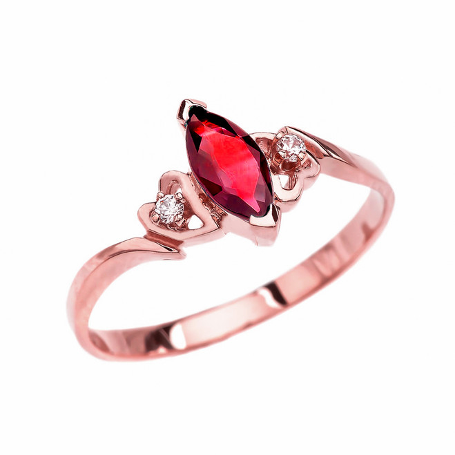 Rose Gold Solitaire Marquise Ruby And Diamonds Engagement/Proposal Ring