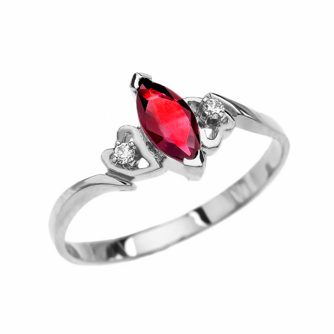 White Gold Solitaire Marquise Ruby And Diamonds Engagement/Proposal Ring