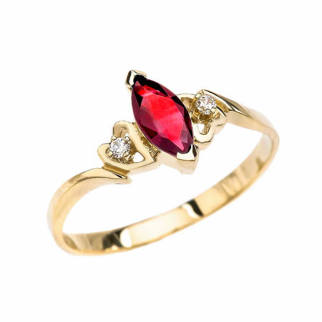 Yellow Gold Solitaire Marquise Ruby And Diamonds Engagement/Proposal Ring
