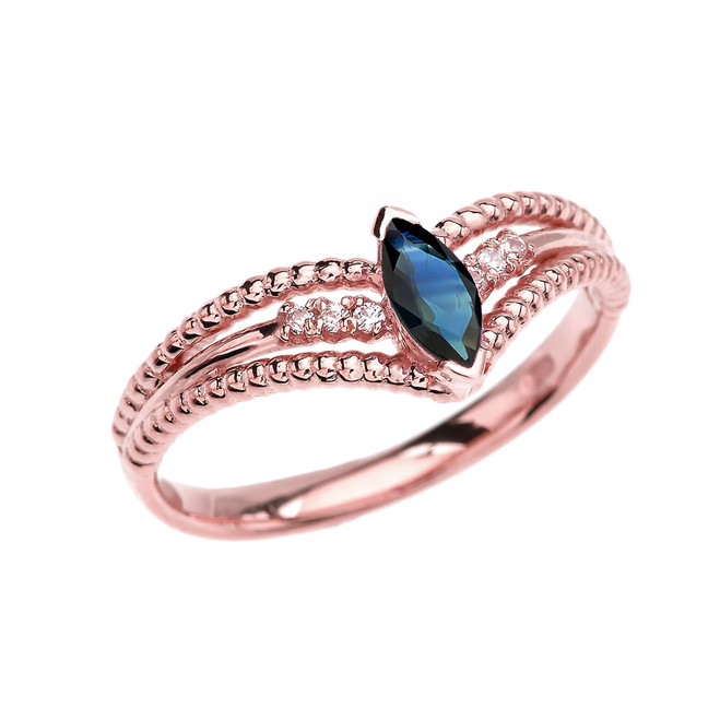 Rose Gold Sapphire and Diamond Modern Beaded Engagement Ring