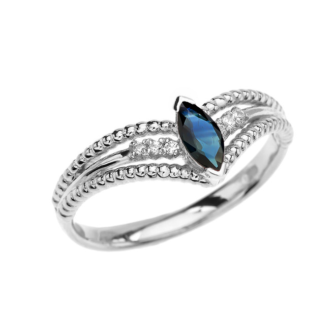 White Gold Sapphire and Diamond Modern Beaded Engagement Ring
