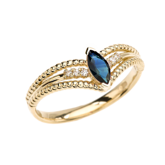 Yellow Gold Sapphire and Diamond Modern Beaded Engagement Ring