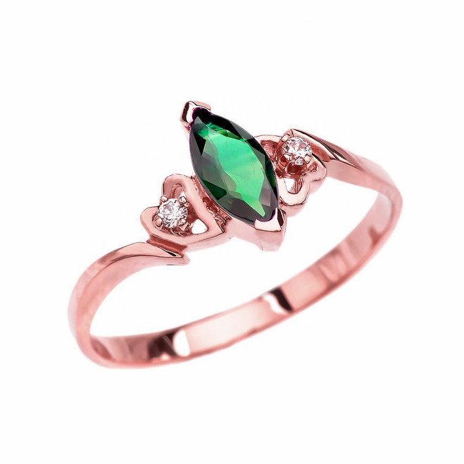 Rose Gold Diamond And Solitaire Marquise (LCE) Emerald Engagement/Proposal Ring