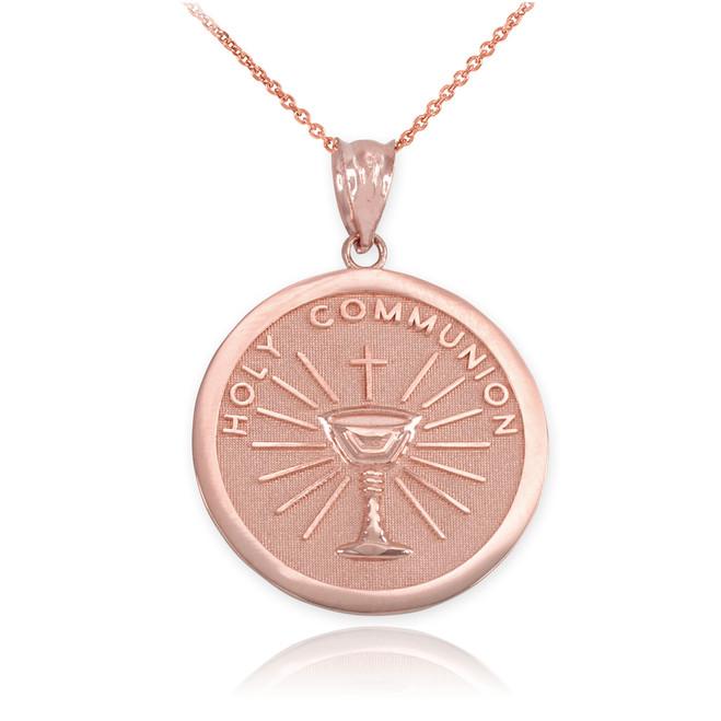 Rose Gold Holy Communion Pendant Necklace