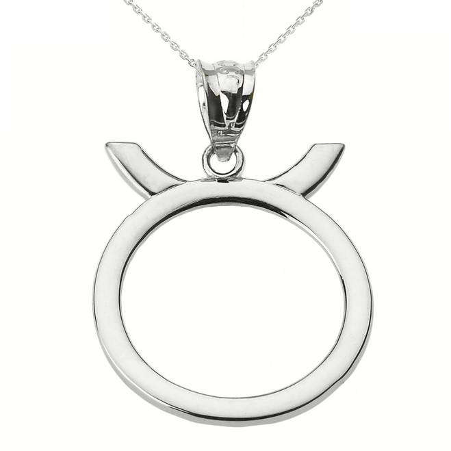 Sterling Silver Taurus May Zodiac Sign Pendant Necklace