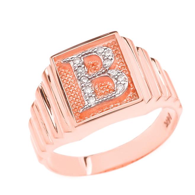 Rose Gold Diamond Initial B Ring