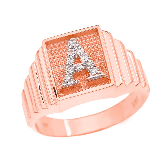 Rose Gold Diamond Initial A Ring