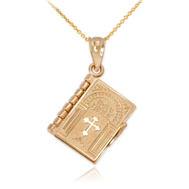 Yellow Gold 3D English Bible Pendant Necklace