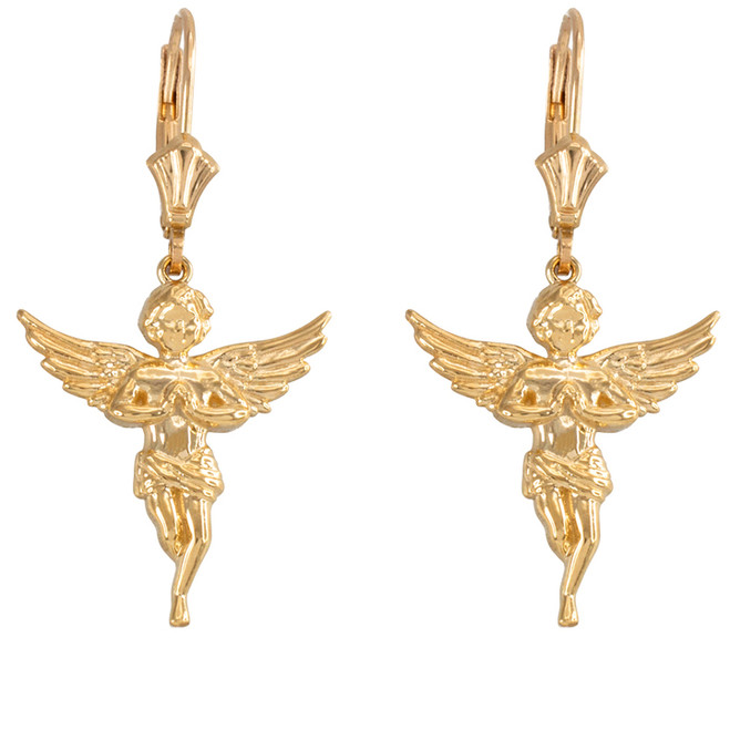 Yellow Gold Textured Praying Angels Earrings