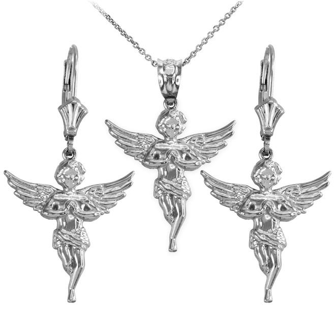 14k White Gold Textured Praying Angel Necklace Earring Set