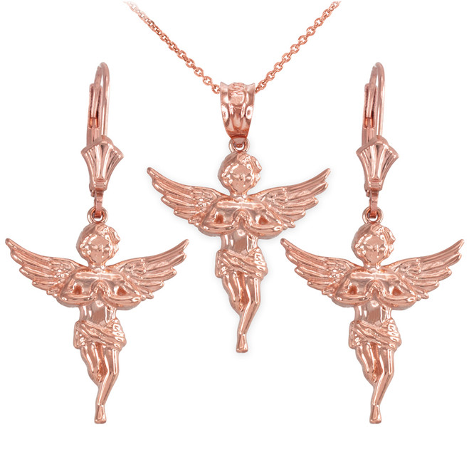 14k Rose Gold Textured Praying Angel Necklace Earring Set