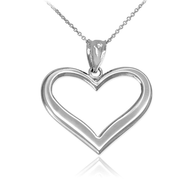 White Gold Polished Open Heart Pendant Necklace