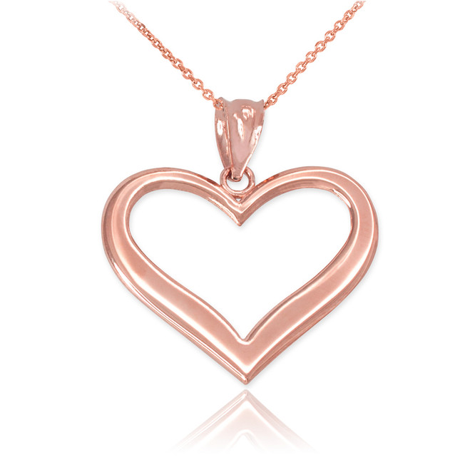 Rose Gold Polished Open Heart Pendant Necklace