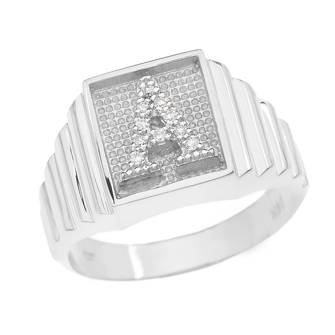 Sterling Silver Diamond Initial A Ring