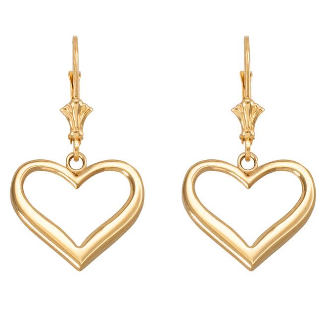 Yellow Gold Polished Open Heart Earrings