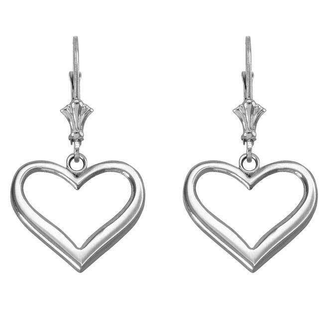 14k White Gold Polished Open Heart Earrings